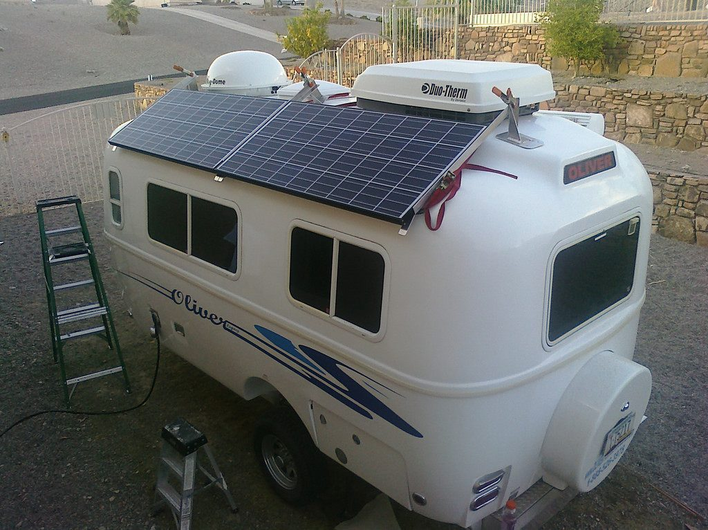solar panels installed on a small RV