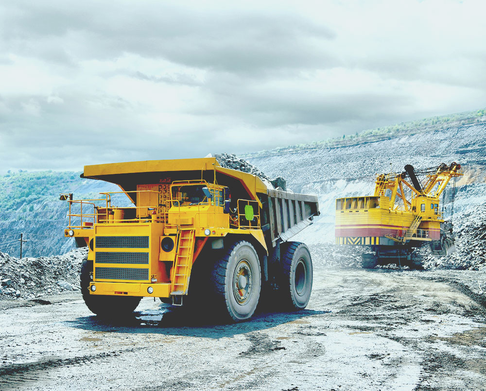 dump truck loaded with ore for solar panels