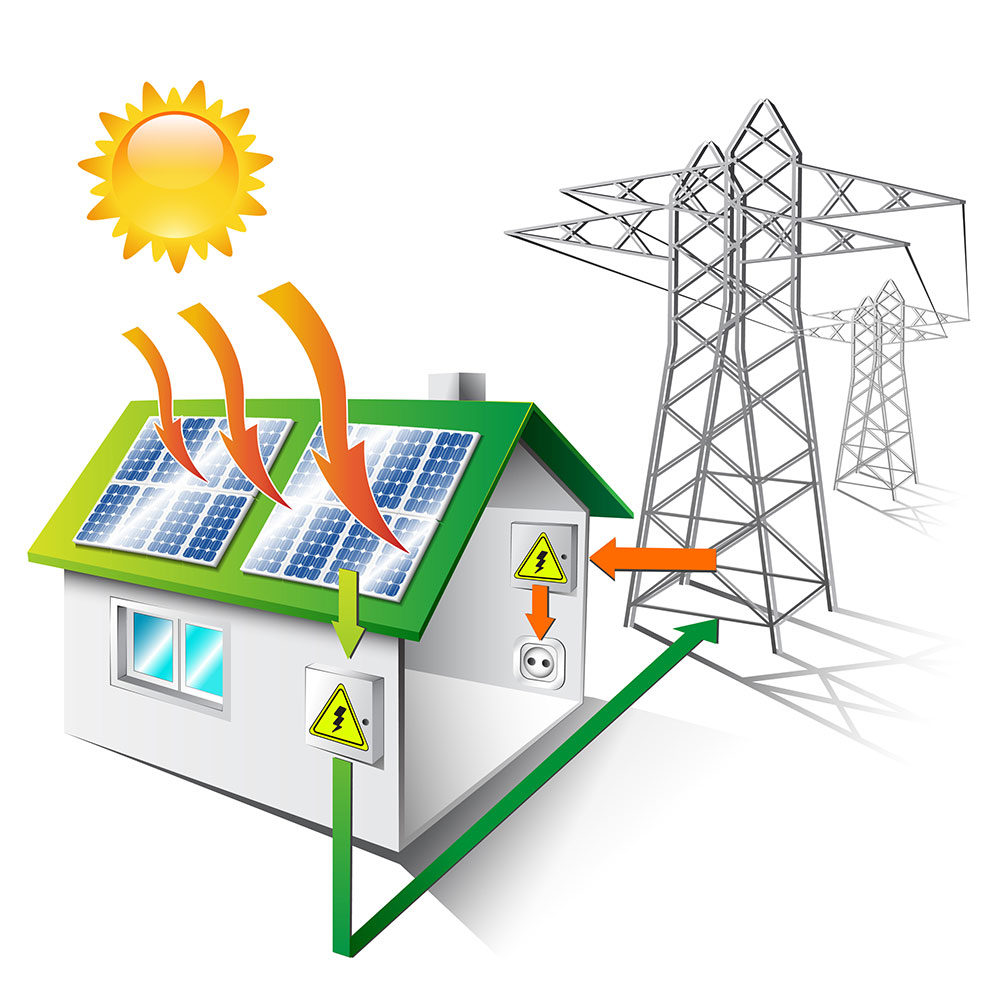 illustration of house being powered by solar