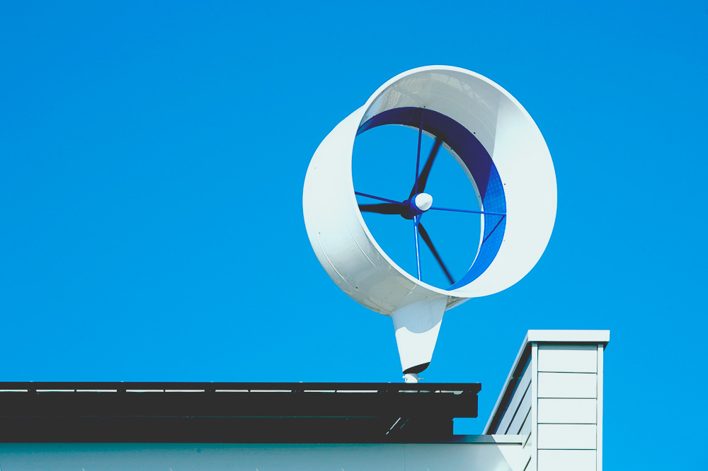 small residential wind turbine on roof