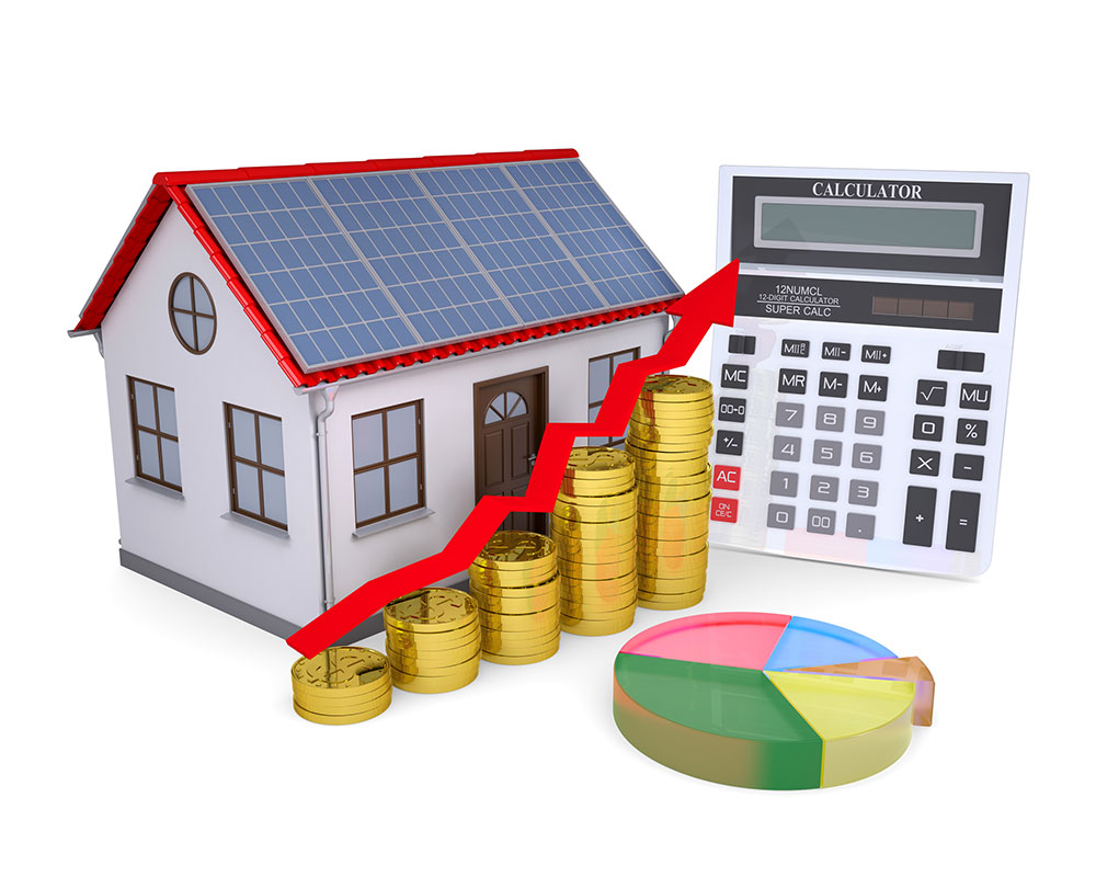 solar panels on house with savings and calculator web