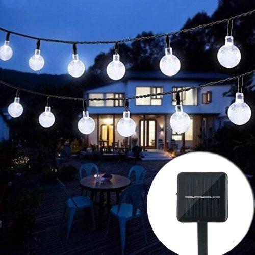 Christmas Solar String Light 20ft 30LED Fairy String Lights Bubble Crystal Ball Lights