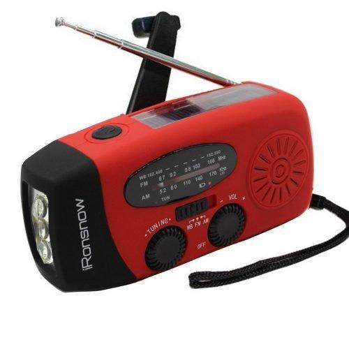 iRonsnow Solar Emergency NOAA Weather Radio Dynamo Hand Crank Self Powered flashlight