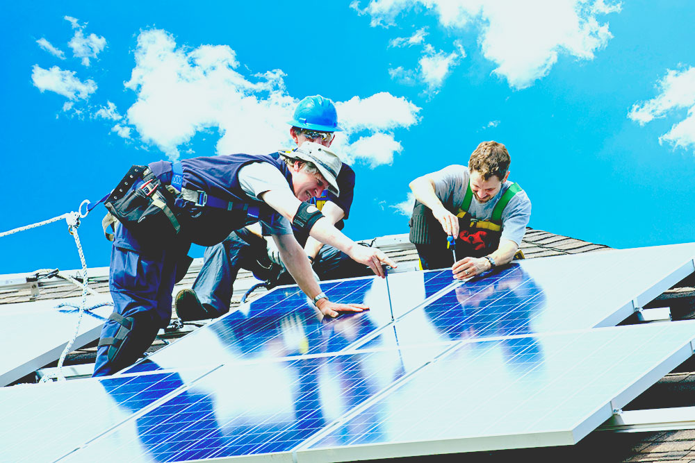 solar technicians installing a panel how to become a solar panel installer
