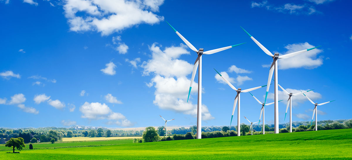 multiple wind turbines in a green field with blue sky