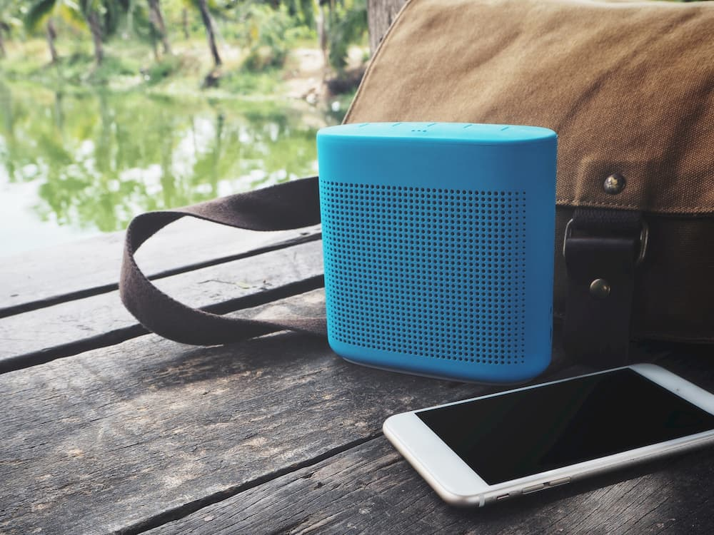 solar bluetooth speakers outside on bench