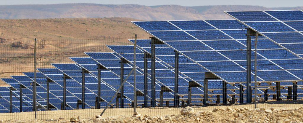 solar panel farm in the desert