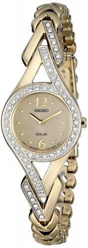Seiko Womens SUP176 Swarovski Crystal-Accented Stainless Steel Solar Watch